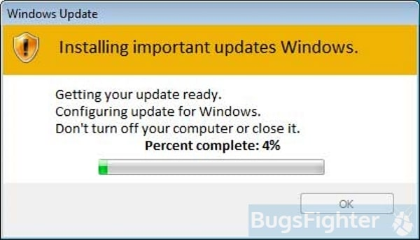 fake windows update from Efdc Ransomware