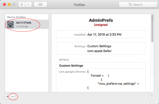 remove opti-page.com profile from system preferences