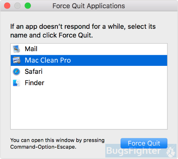 Mac Clean Pro force quit