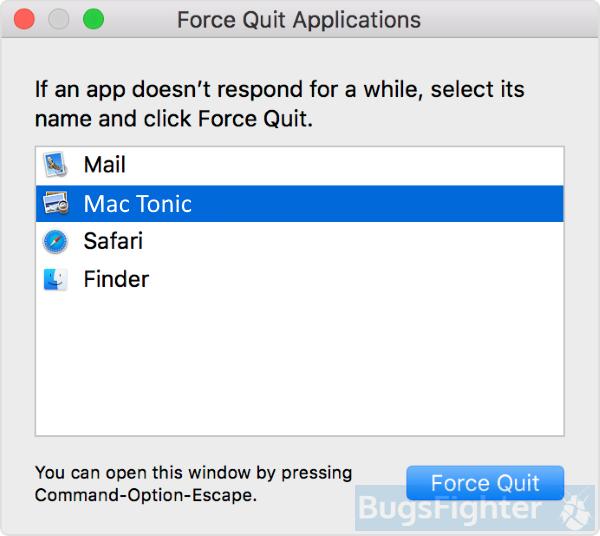 mac tonic force quit