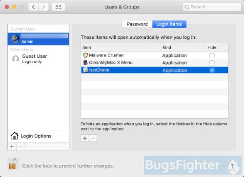chromium or runchmm login items on mac